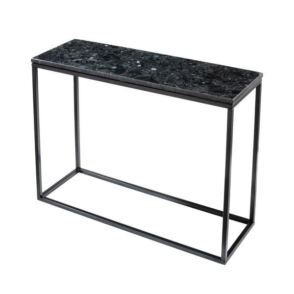 Černý žulový konzolový stolek s podnožím v černé barvě, délka 100 cm