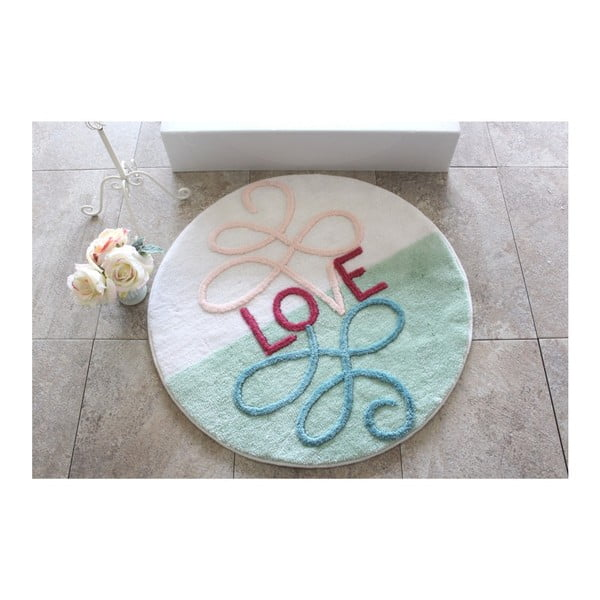 Koupelnová předložka Knit Knot Love, ⌀90cm