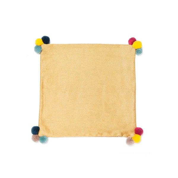 Žlutý polštář Casa Di Bassi Pom Pom, 40x40cm