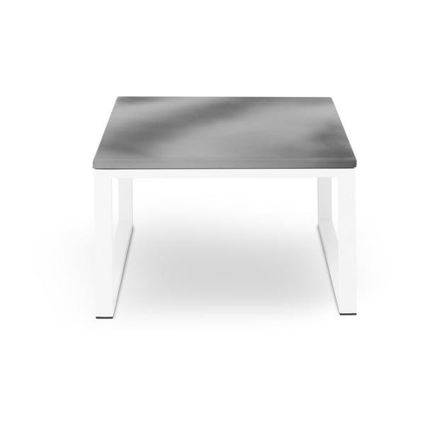 Šedý venkovní stůl v betonovém dekoru a bílém rámu Calme Jardin Nicea, délka 60 cm