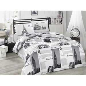 Lenjerie de pat cu cearșaf City, 200 x 220 cm