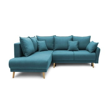 Colțar extensibil cu șezlong pe partea stângă Bobochic Paris Mia L, albastru turcoaz imagine