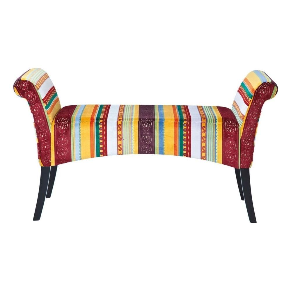 Červenožlutá polstrovaná lavice Kare Design Very British