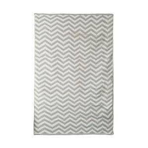 Šedo-béžový bavlněný ručně tkaný koberec Pipsa Zigzag, 140x200 cm