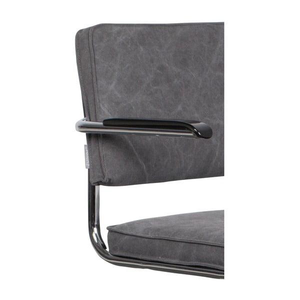 Sada 2 šedých židlí s područkami Zuiver Ridge Kink Rib Darko