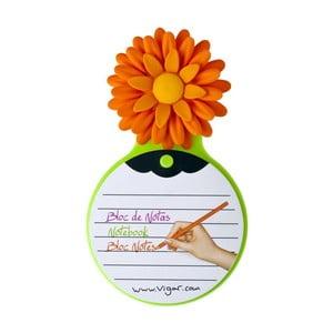 Poznámkový blok Flower Power, oranžová