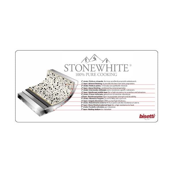 WOK pánev s rukojetí ve stříbrné barvě Bisetti Stonewhite Giorgio, ø28 cm