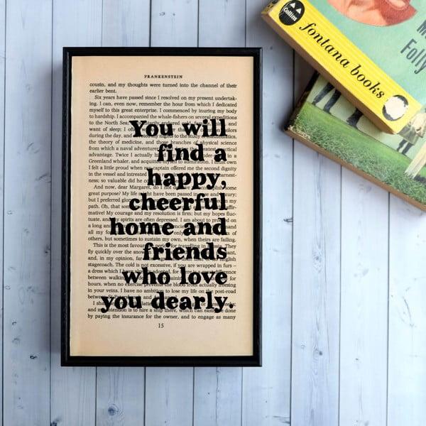 Plakát v dřevěném rámu Frankenstein Happy Home