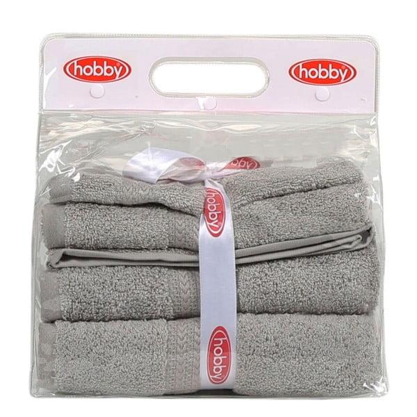 Set 3 šedých ručníků a osušky Rainbow