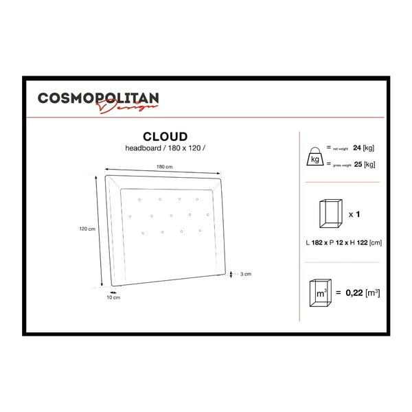 Šedé čelo postele Cosmopolitan Design Cloud, šířka 180cm