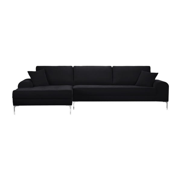 Set canapea neagră cu șezlong pe partea stângă, 4 scaune gri antracit și saltea 160 x 200 cm Home Essentials