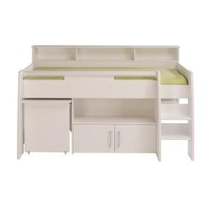 Bílá multifunkční jednolůžková postel Parisot Adelise, 90x200cm