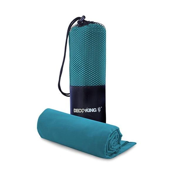 Set tyrkysovej rýchloschnúcej osušky a uteráku DecoKing EKEA, 70 x 140 cm + 30 x 50 cm