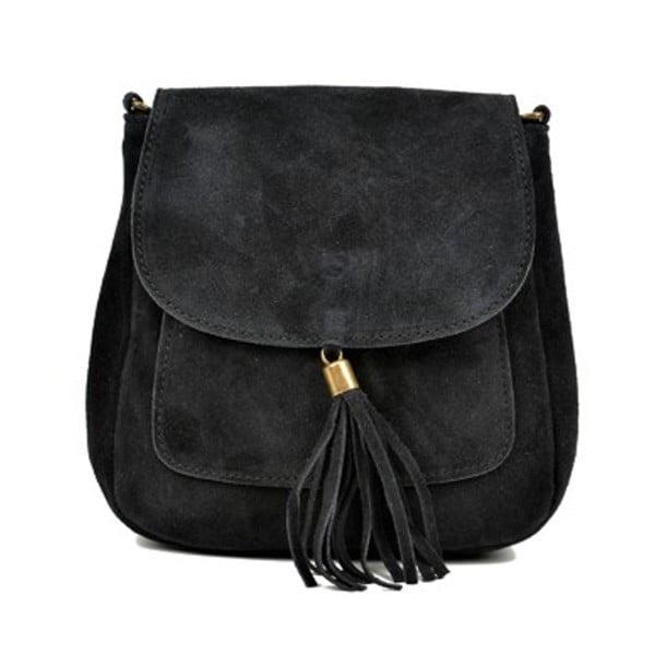 Čierna kožená kabelka Anna Luchini Kaello