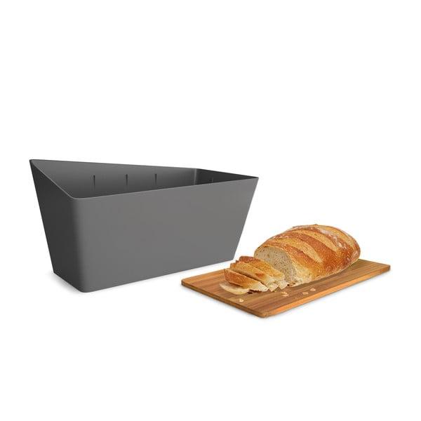 Chlebník s prkénkem Bread Bin, šedý