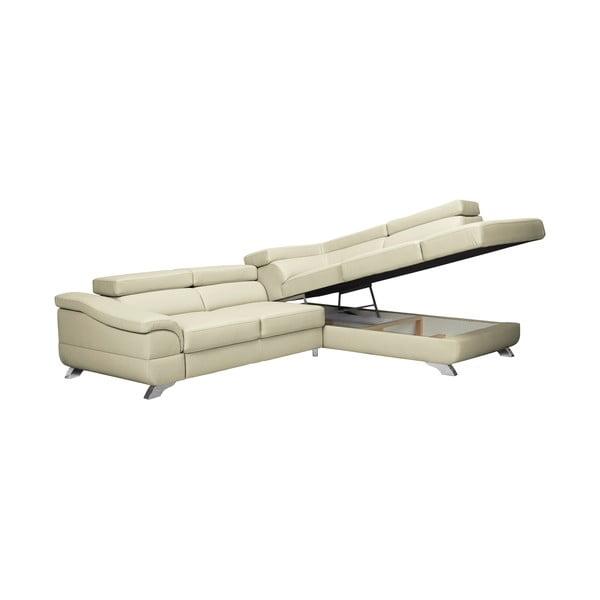 Béžová kožená rozkládací rohová pohovka Windsor & Co Sofas Gamma, pravý roh
