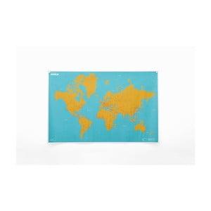Zmačkaná nástěnná mapa světa s městy Palomar Cities