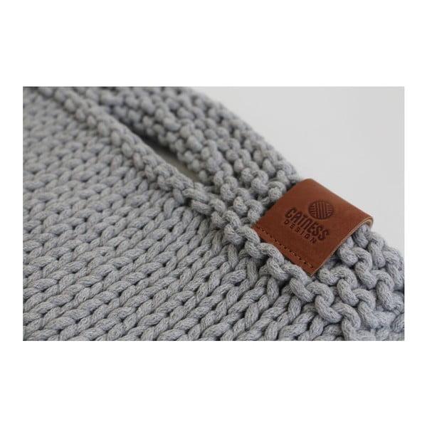 Pletená kabelka Catness, světle šedá, 35x38 cm