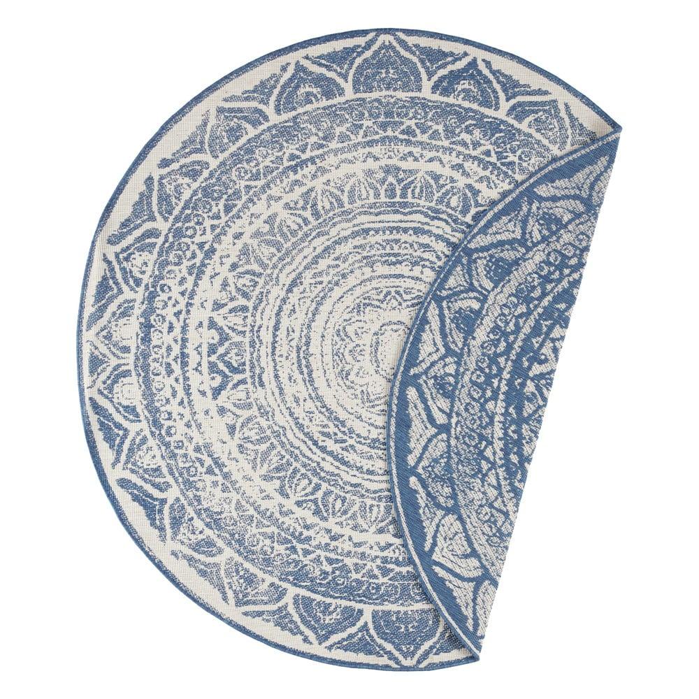 Modro-krémový venkovní koberec Bougari Siruma, ø 200 cm