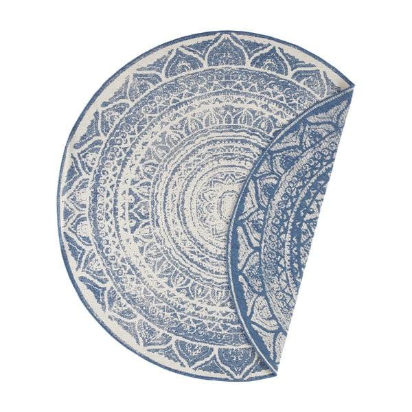 Covor adecvat pentru exterior Bougari Siruma, ø 140 cm, albastru-crem