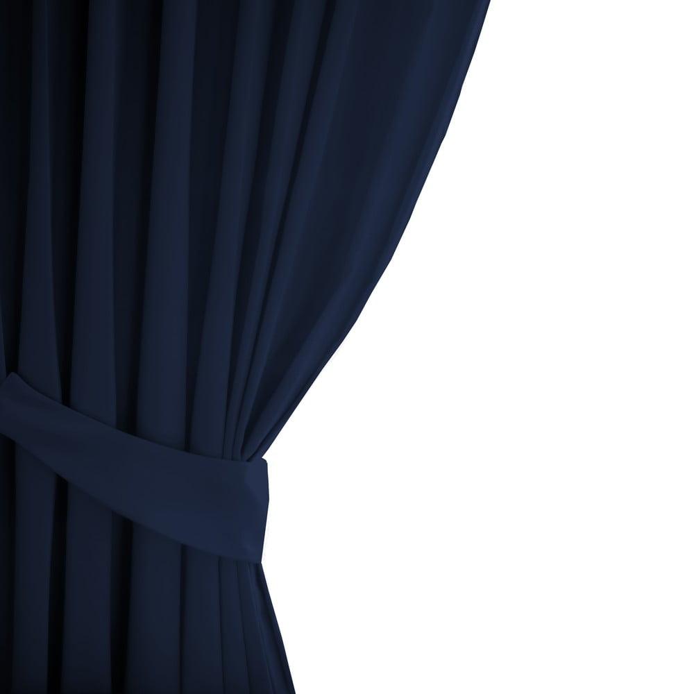 Tmavě modrý závěs AmeliaHome Eyelets Indigo, 140 x 245 cm