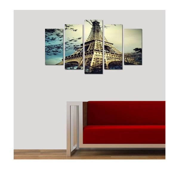 Pětidílný obraz Eiffelovka, 110x60 cm