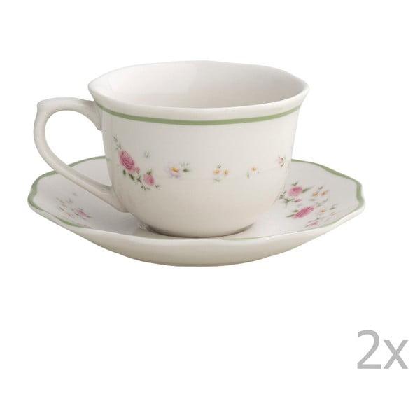 Zestaw 2 białych filiżanek z porcelany ze spodkami Brandani Nonna Rosa, 100 ml