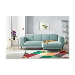 Canapea cu 3 locuri și suport pentru picioare Bobochic Paris Luna, albastru deschis