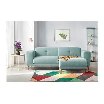 Canapea cu 3 locuri și suport pentru picioare Bobochic Luna albastru deschis