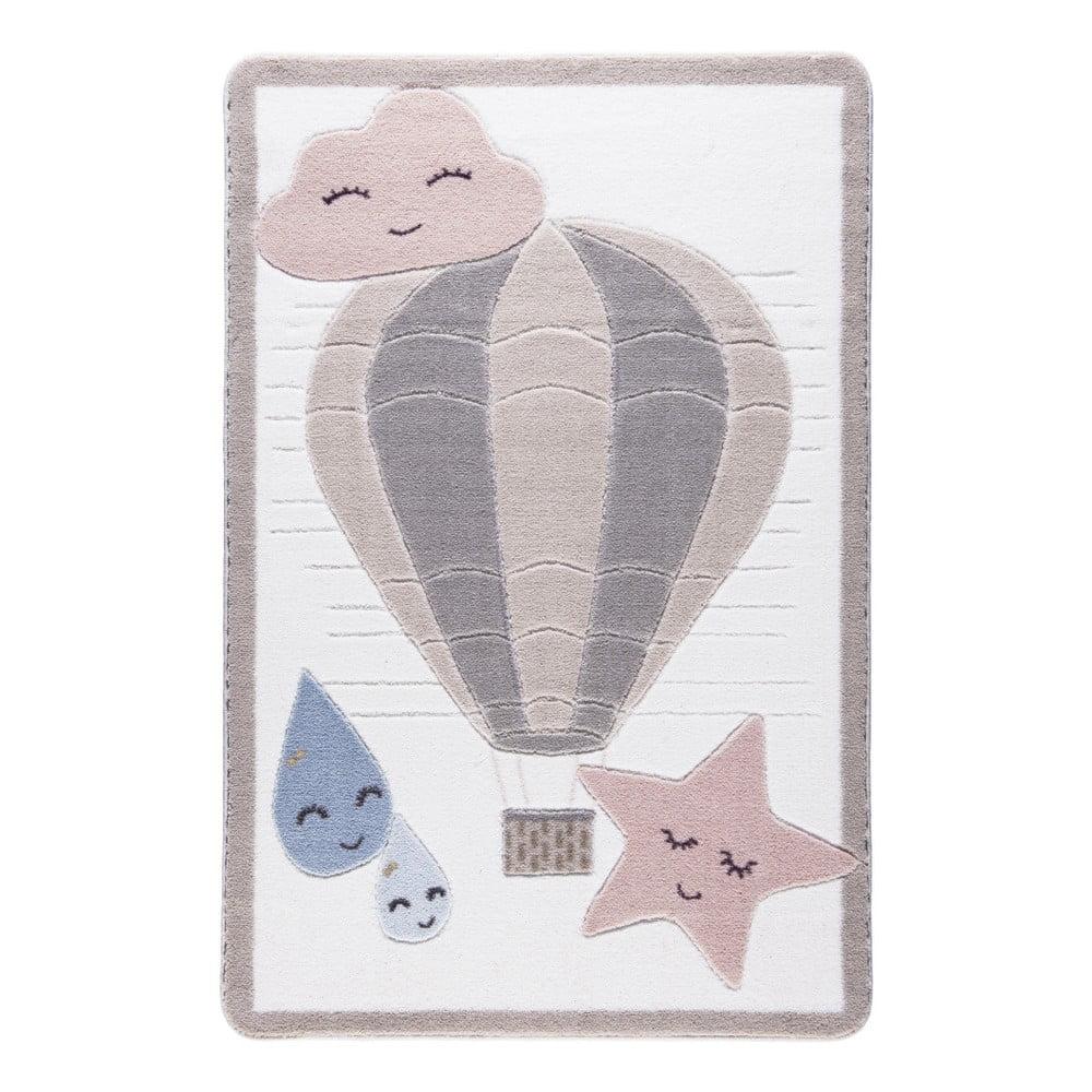 Dětský světle růžový koberec Confetti Cloudy, 133x190cm