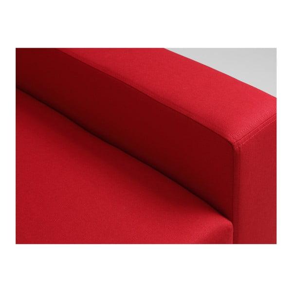 Červená rozkládací rohová pohovka s úložným prostorem a lenoškou na pravé straně Custom Form Lozier