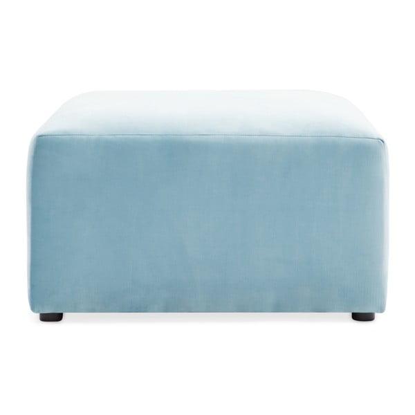 Světle modrá dvoumístná modulová pohovka s podnožkou Vivonita Velvet Cube