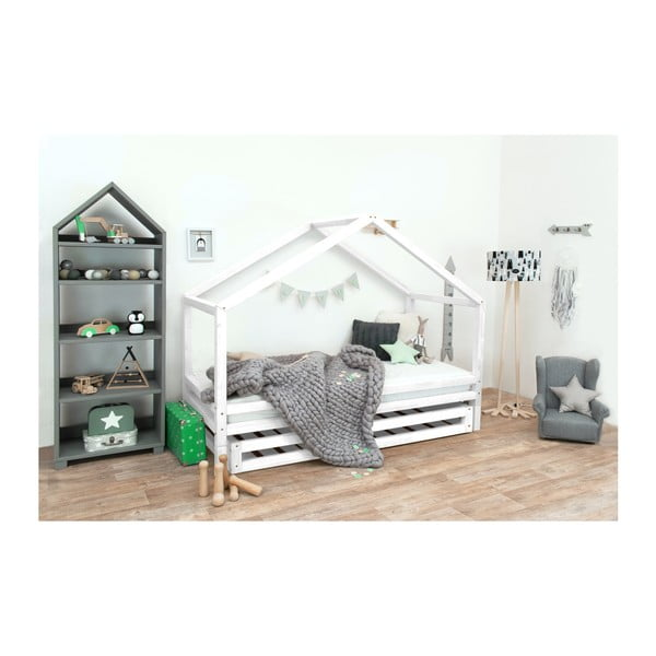 Bílá dětská postel z lakovaného smrkového dřeva Benlemi Sidy, 70 x 160 cm