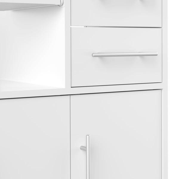 Bílý pojízdný kuchyňský úložný prostor s policemi TemaHome Marius