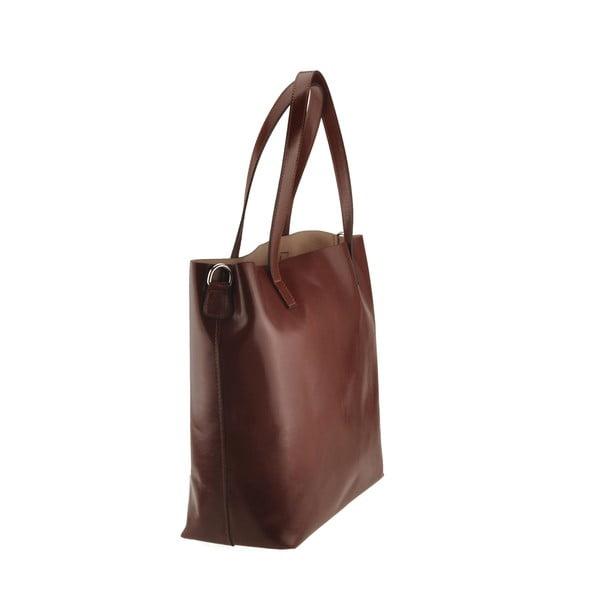 Hnědá kožená kabelka Florence Tangor