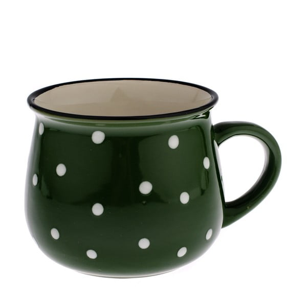 Zelený keramický hrnek s puntíky Dakls Premio, 770ml