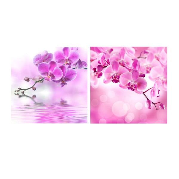 Set obrazů na skle Orchideje, 20x20 cm, 2 ks