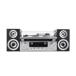 Gramofon a audio systém ve stříbrné barvě GPO PR100/200 Bundle