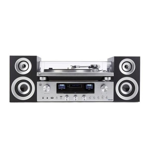 Gramofon i odtwarzacz strumieniowy w srebrnym kolorze GPO PR100/200 Bundle