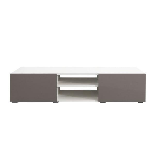 Masă TV cu uși gri-bej TemaHome Podium, alb