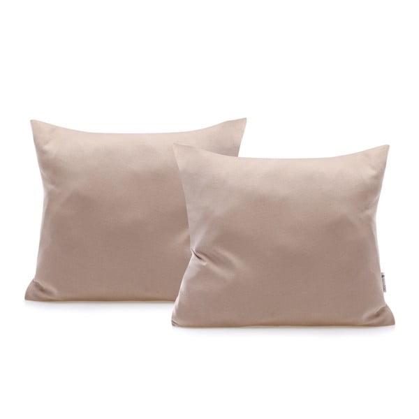 Komplet 2 jasnobrązowych bawełnianych poszewek na poduszki DecoKing Amber Cappuccino, 40x40 cm