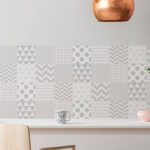 Sada 9 nástěnných samolepek Ambiance Cement Tiles Scandinavian Finnish, 10 x 10 cm