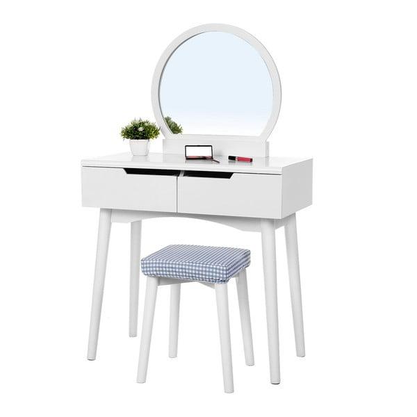 Biała drewniana toaletka z lustrem, stołkiem i 2 szufladami Songmics