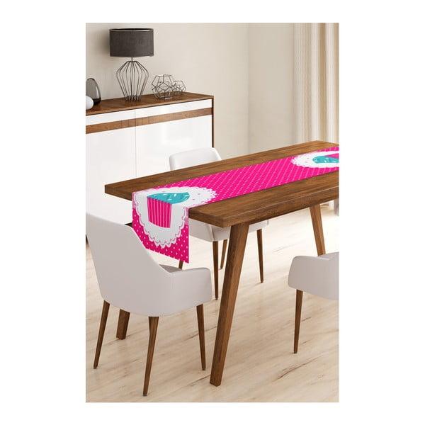 Běhoun na stůl z mikrovlákna Minimalist Cushion Covers Pink Cupcake, 45x145cm
