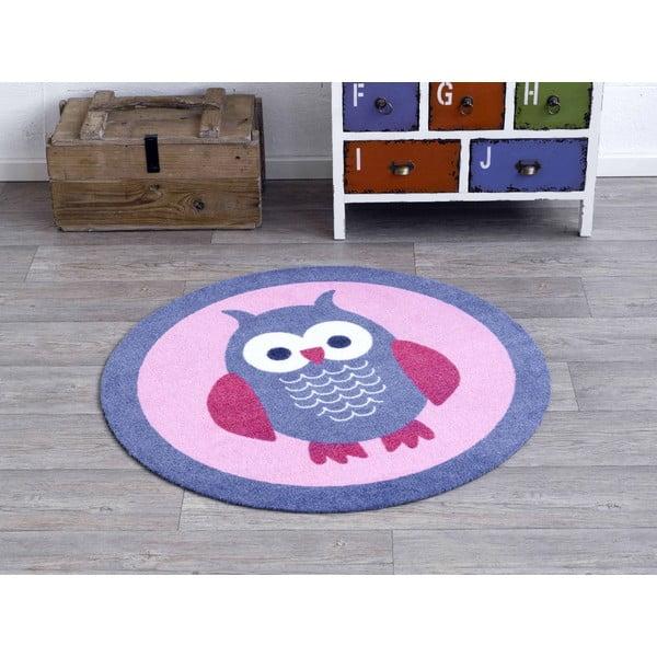 Dětský růžový koberec Hanse Home Sova, ⌀100cm