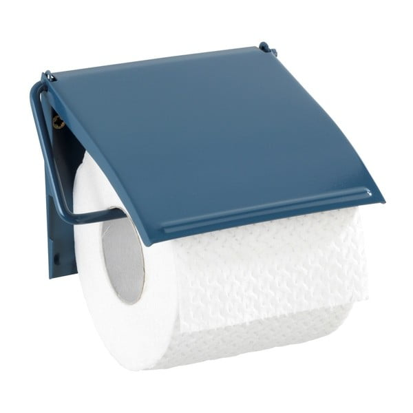 Modrý nástěnný držák na toaletní papír Wenko Cover