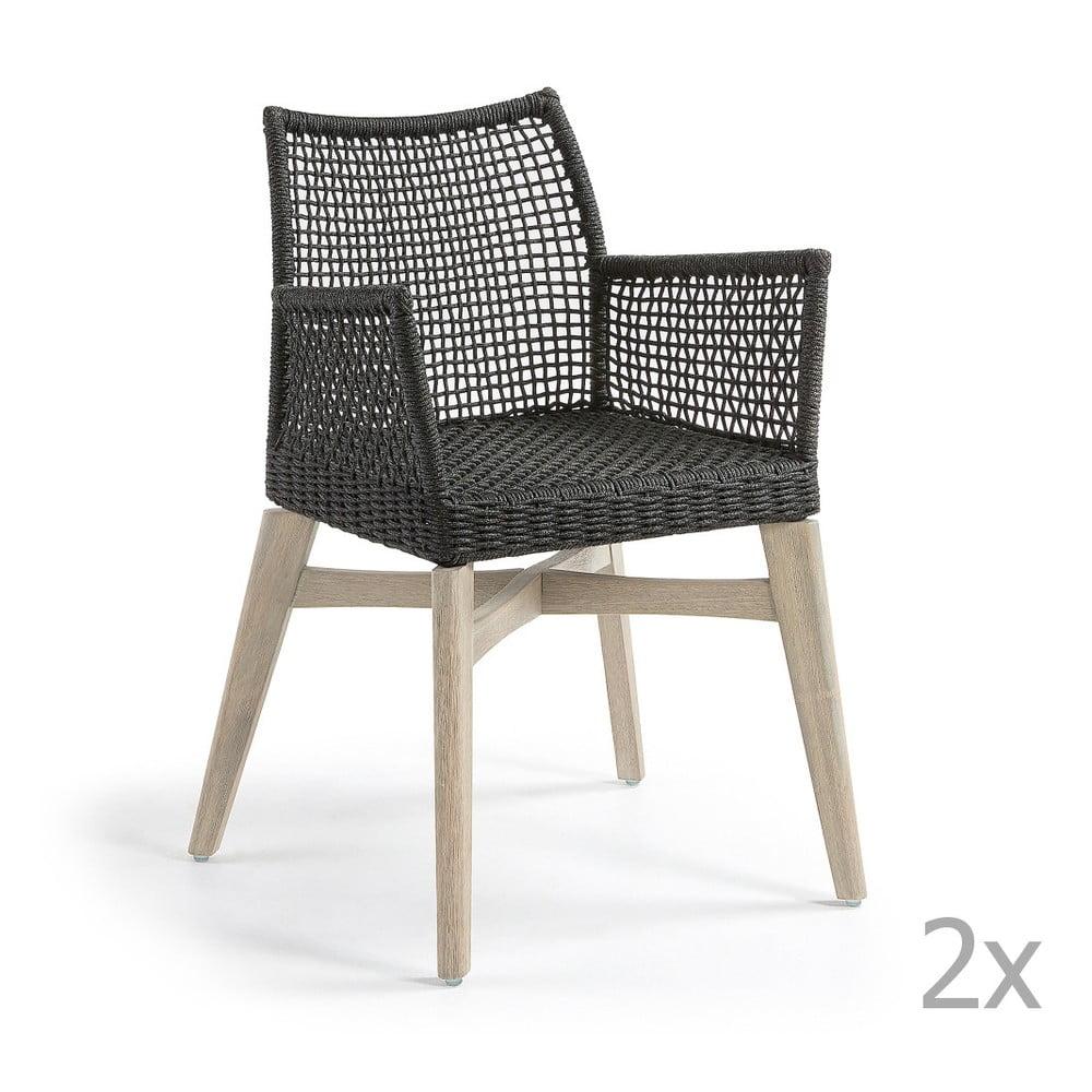 Sada 2 tmavě šedých židlí La Forma Rodini