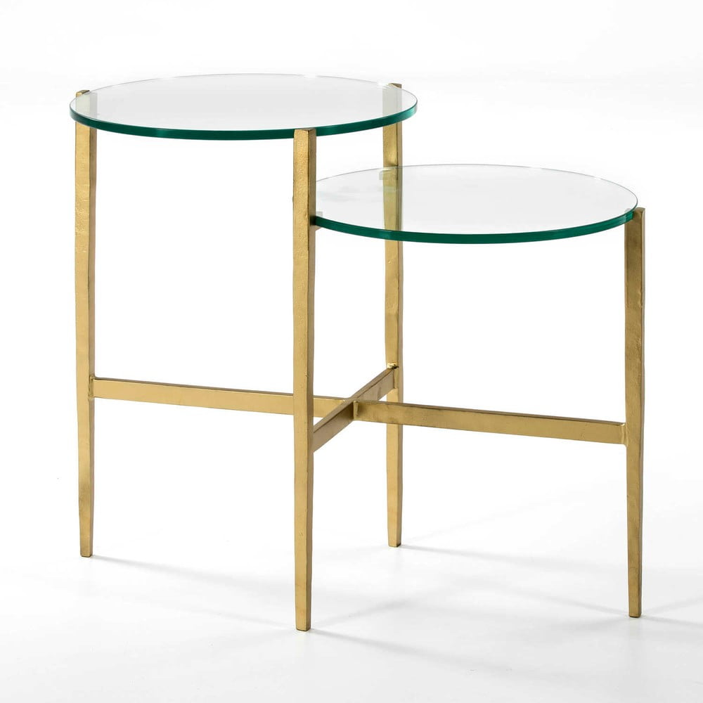 Odkládací stolek se skleněnou deskou a nohami ve zlaté barvě Thai Natura, 41x69cm