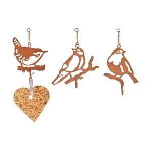Sada 3 kovových držáku na ptačí zob s motivem ptáčků Esschert Design