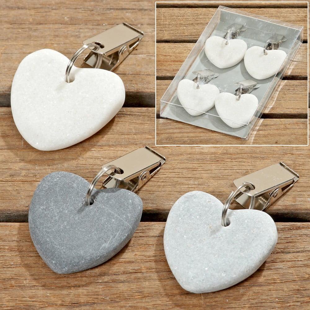 Sada 4 světle šedých závěsných dekorací ve tvaru srdce Boltze Pin Up